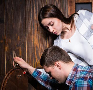 Escape room customers looking for clues