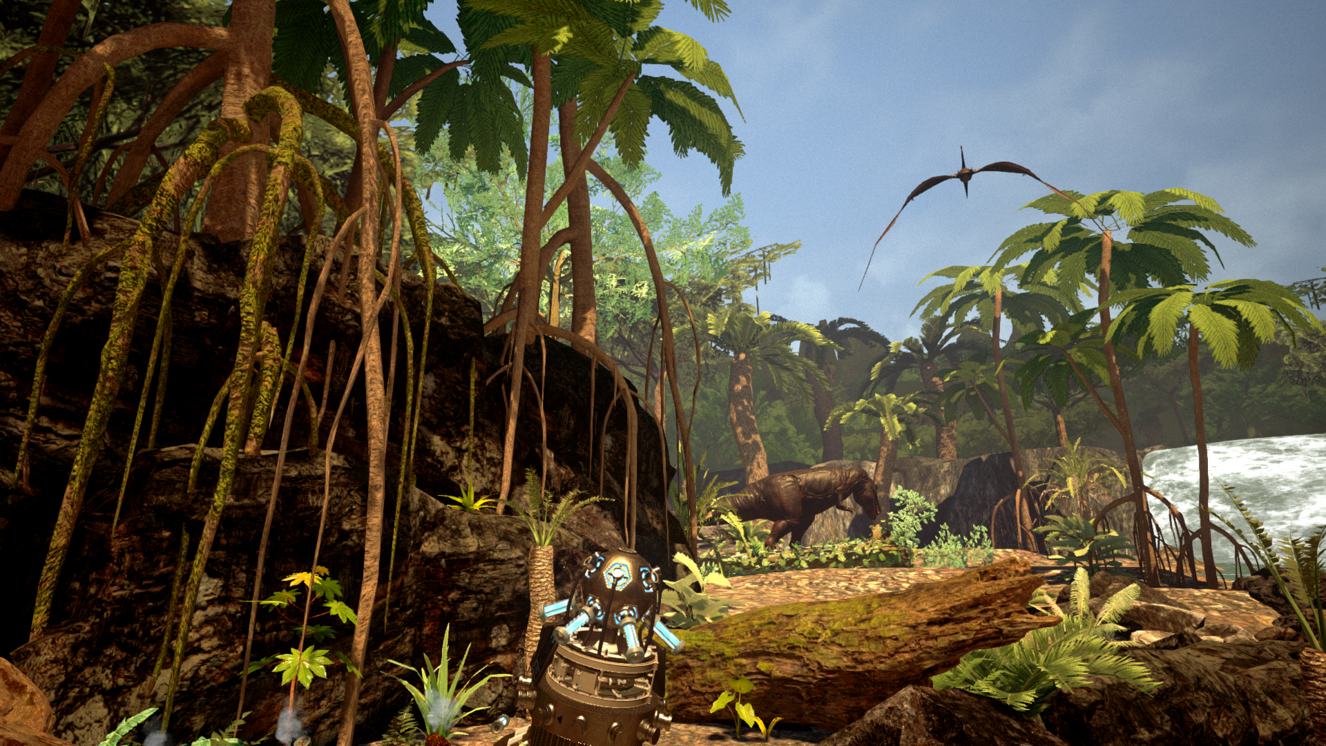 In-game screenshot from Time Travel Paradox showing a dinosaur jungle scene