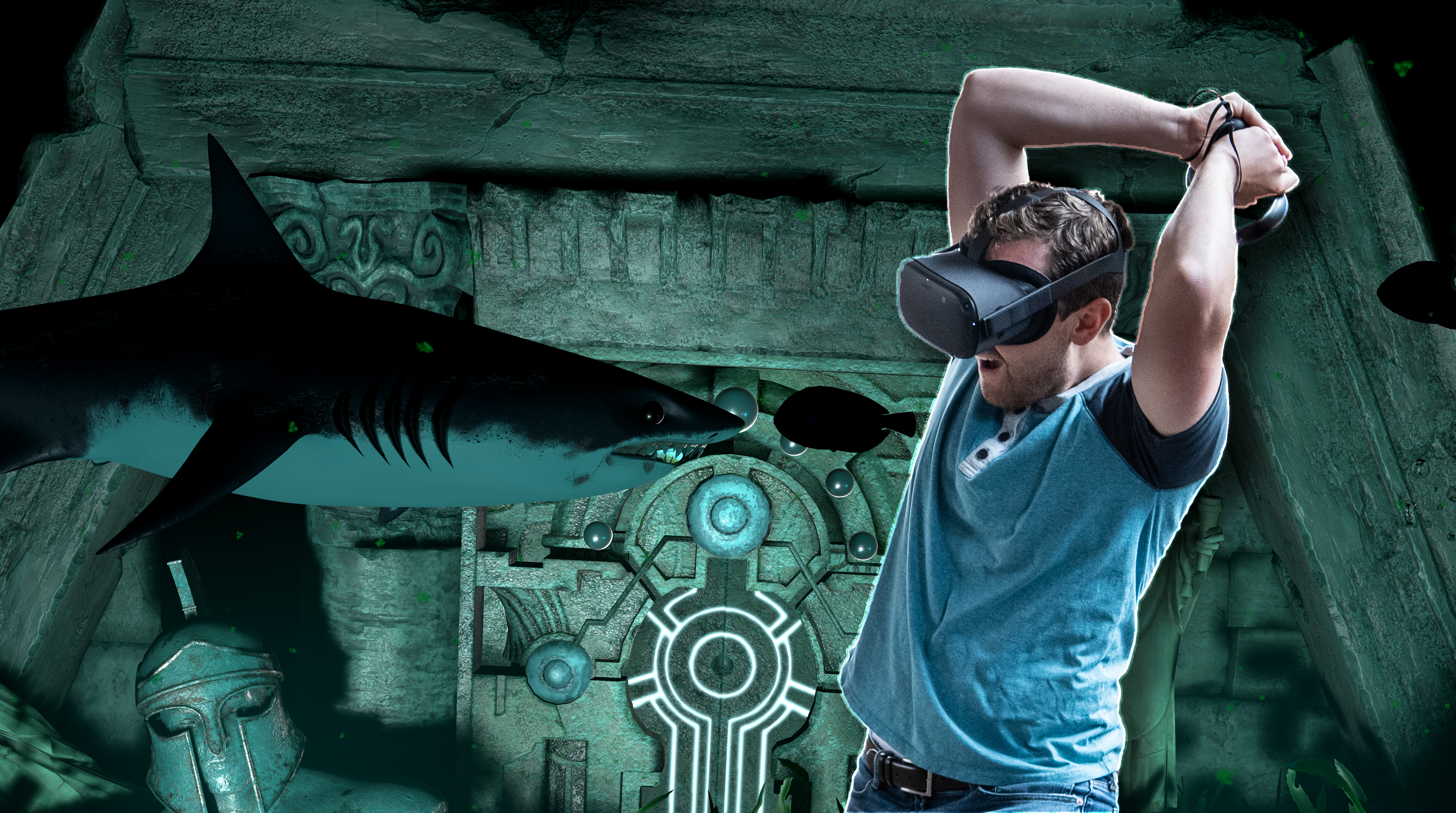 Man in VR with shark
