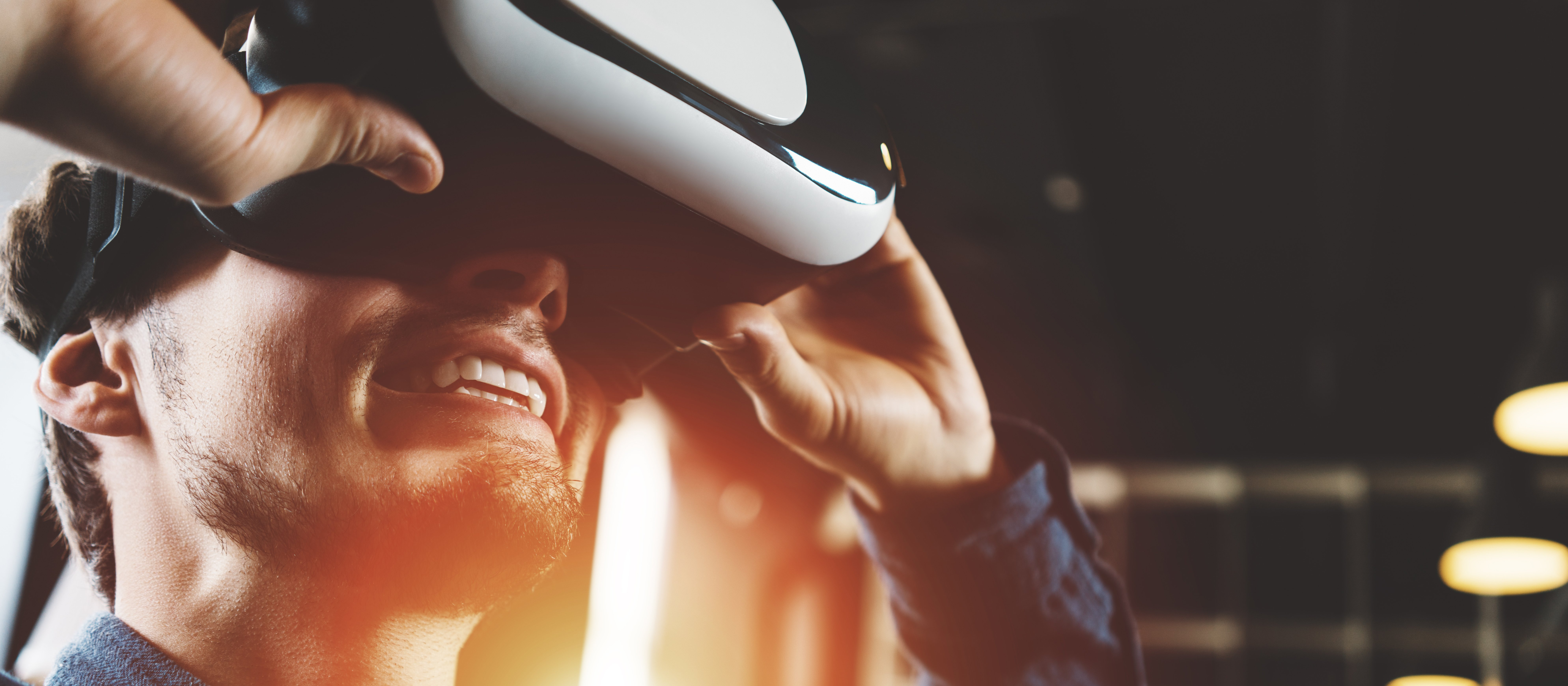 Man amazed by VR headset