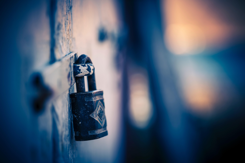 Escape room locked door with padlock